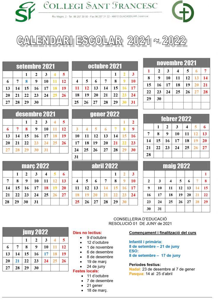 Calendari per al curs 21/22